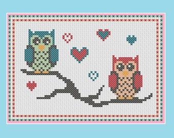 Owl cross stitch pattern: lovebird owls