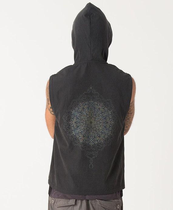 Mens Hood Vest Black Sleeveless Jacket with Hoodie Mandala Screen Printed Sacred Geometry Vest G407ToTue