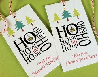 Custom Gift Tags, Custom Christmas Tags, Holiday Tags, Personalized Christmas Tags, Set of 20