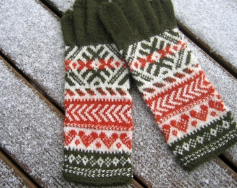 Hand knitted gloves. Patterned gloves, mittens. Green, white, orange. Soft Alpaca wool. Gift. Estonian handcraft.