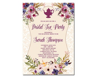 Bridal Tea Party Invitation, Floral Bridal Shower Invitation, High Tea Invitation, Shabby Chic Bridal Tea Party Invitation