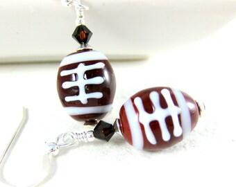 Football Earrings, Fall Earrings, Brown White Glass Dangle Earrings, Sport Earrings, Football Jewelry, Autumn Jewelry, Lampwork Earrings