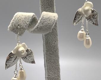 Pearl earrings, wedding earrings, porcelain earrings, bridal earrings, bridesmaid earrings
