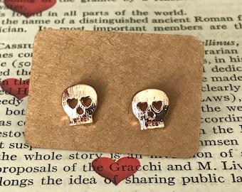Skull Stud Earrings Rose Gold Plated