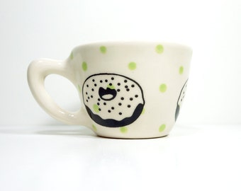 12oz cup with a delicious donut print, shown here on tinda green polkadots - Made to Order / Pick Your Colour