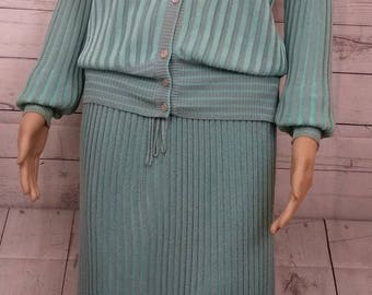 Vintage Knitted skirt suit by Medici Italy. Powder Blue. Long Sleeved Cardigan. Floaty Skirt. Size 14 -16