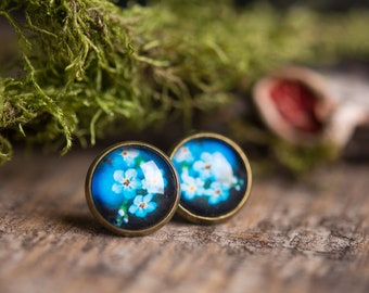 Forget me not earrings, blue jewelry, blue earrings, birthday gift for her, gift for daughter, girlfriend gift, stud earrings