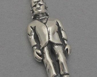 Sterling Silver 925 Charm Pendant 3D FRANKENSTEIN Halloween Monster 3051