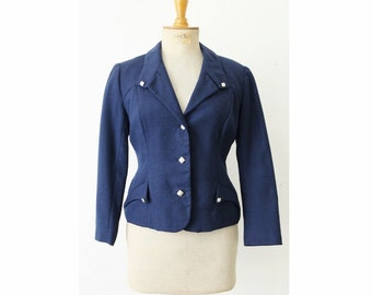 1950s navy blue jacket, French vintage 50s wool sailor jacket, military style fitted jacket, pin up size S M 8 10