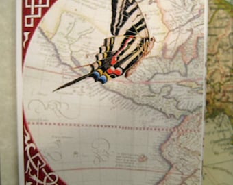 Butterfly card, Greetings Card, Hand Made card, Illustrated, Ancient map, birthday card, congratulations card, sympathy card