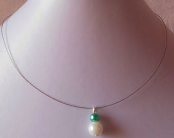 Duo of turquoise and White Pearl bridal necklace