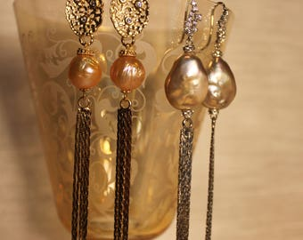 Holiday hanging earrings with pearls