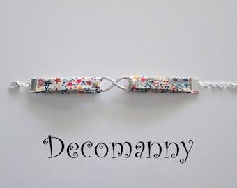 Bracelet infini tissus liberty étoiles multicolores