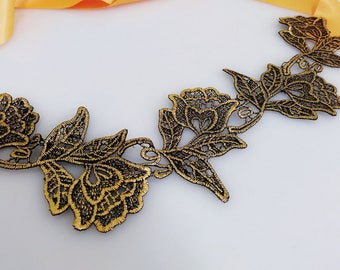 Black gold rose sash, Flower sash, Floral sash, Lace sash, Wedding sash, Bridal gown sash, Dress sash, Satin belt, Prom belt,Bridesmaid belt