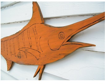Marlin Fish Sign Wooden Saltwater Fish Art Coastal Art Blue Marlin Beach House Art Fishing Gift for Men Wood Marlin Fishing Gift Outdoor
