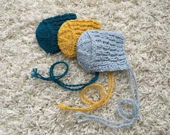 Newborn size knit round back bonnet, photo prop,coming home,gift,crochet,knit,hat,bonnet
