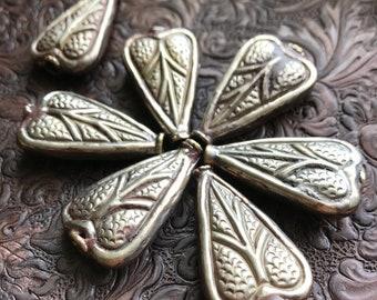 Leaf, Hosta Leaf, Caladium leaf, Heart bead, brass bead from Nepal, Silver plated brass