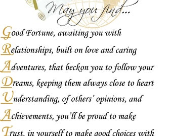 May You Find Personalized Graduation Inspirational Poem Print College Graduate