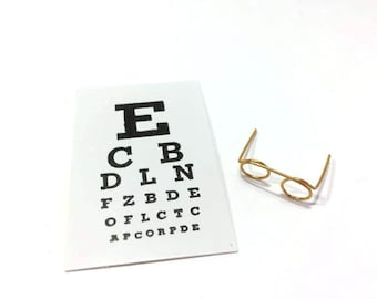 Miniature Eye Chart and Glasses Set of 2 Dollhouse Medical Miniatures 1:12 Scale Diorama Shadow Box Supply - 312