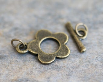 Antiqued Brass Toggle and Bar Set Clasp, Flat Bronze Flower Clasp