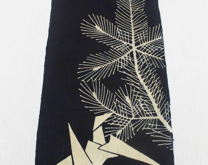 Vintage Japanese Indigo Textile. Artisan Made Katazome / Tsutsugaki Dyed Cotton with Origami Crane Design (Ref: 1852)