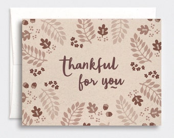 Thankful For You Card - Autumn Thanksgiving Cards, Anniversary Card, Brown Recycled Card - For Him, Her - Illustrated Leaves Sepia Art