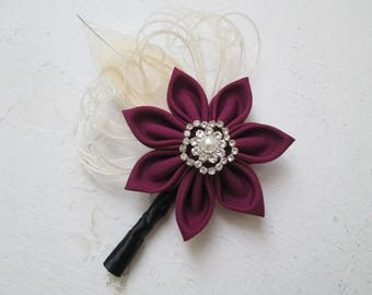 Burgundy & Ivory Peacock Wedding Boutonniere, Men's Lapel Pin, Groom's Marsala - Black Boutonniere, Kanzashi Flower, Groomsmen's Gifts