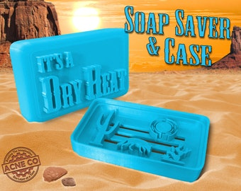 It's a Dry Heat Soap Saver & Soap Travel Case / Self Draining Soap Dish / Handmade Dish Tray / Bath Gift for Him Her / Bathroom Accessory
