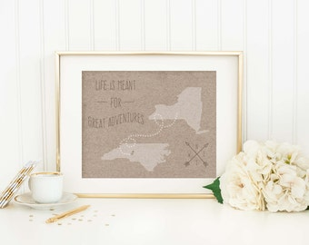 Personalized Long Distance Gift - Long Distance Relationship - Family - Graduation - Moving - Housewarming - Friendship - State Map Gift