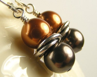 Brown and Copper Swarovski Pearl Love Knot Earrings on Sterling Silver Leverbacks. Orange and Chocolate Brown with Twisted Spacer.