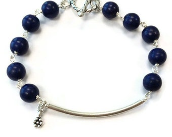 Navy Blue Bracelet - Turquoise Jewellery - Sterling Silver Jewelry - Gemstone - Layer - Stack - Flower Charm B-TBM