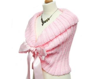 Bridal Bolero Jacket, Wedding Shrug, Lace Bolero Shrug, Pink Wedding Bolero, Bridal Shrug, Crochet Shawl, Romantic Wedding Cape, Pink Shawl