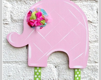 Elephant Bow Holder, Hair Bow Holder, Bow Keeper, Girl Decor, Hand Painted, Personalized, Girl, Ballet, Hair Clip Holder, Clip Holder