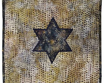 Judaica Quilt Star of David Wall Hanging Challah Cover in Brown and Blue Batik