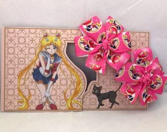 Sailor Moon, Sailor Scouts, Pinwheel Bow Hair Clip, Baby Hair Clip Bow, Toddler Hair Clip Bow, Girl Hair Clip Bow