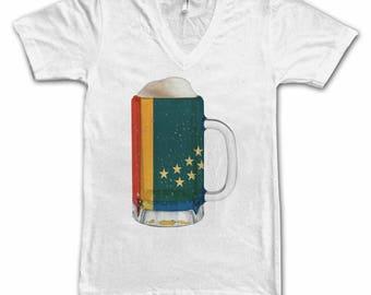 Ladies Durham, NC City Flag Beer Mug Tee, City Pride, City Flag, Home Tee, Beer Tee, Beer T-Shirt, Beer Thinkers, Beer Lovers Tee