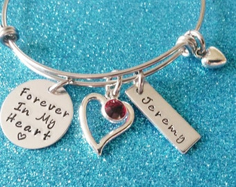 Memorial Bracelet, Memorial Jewelry, Forever in My Heart, Personalized, In Memory of, Dad, Mom, Husband, Son, Daughter, Remembrance Jewelry