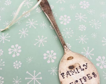 Spoon ornaments. Christmas ornaments. Silverware ornament. spoon ornament. Family Recipes spoon ornament... Christmas Ornament