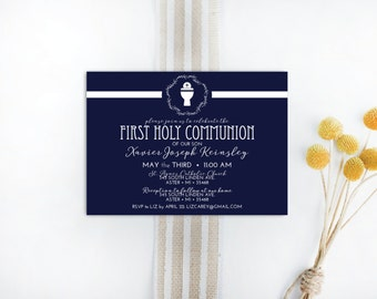INSTANT DOWNLOAD First Holy Communion invitation / First Communion invite / 1st Communion invite / pink Communion invite / boys communion