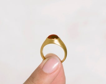 Unique Garnet Ring,18k Yellow Gold Ring, Womens Unique Solitaire Ring, Massive Ring, Woman's Statement Bombay Ring 18K 14k