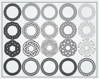 Set of 20 celtic knotwork round frames. (digital)