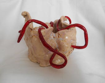 Red Pitfall: Unique handmade piece a precious and luxurious gift for lovers of matter and handicraft made in Italy