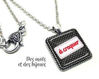 """Necklace """"eat""""-gift pendant square glass cabochon silver chain"""