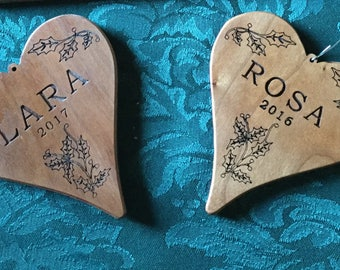 Holiday Personalized Wood Heart Ornament