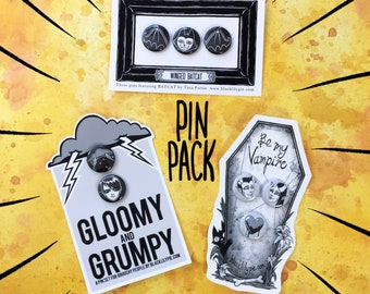 PIN PACK - Three pin sets on illustrated backing cards -gloomy and grumpy, winged batcats, vampire valentine