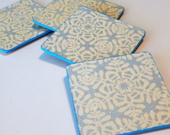 Drink Coasters  Set Of 4 Decoupage Coasters  Snowflake Coasters