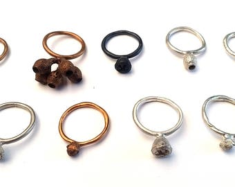 Stacking ring with nature cast. Handmade. Available in silver, plain or blackened and bronze. Women's ring. One only