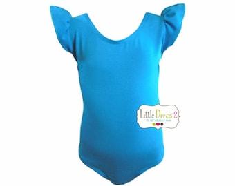 Turquoise Leotard (Child)  FLUTTER/RUFFLE Sleeve Leotard