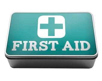 First Aid Medical supplies plasters pills Metal Storage Tin Box A007 - Kids, Christmas, Birthday, Present , Home Office Van Car Caravan Work