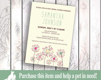 Bridal Shower Invitation, Custom Bridal Shower Invitation, Print/Digital Wedding Shower Invite - Dandelion Theme
